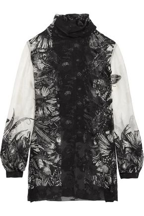 ANNA SUI Butterfly Garden printed silk-blend jacquard blouse