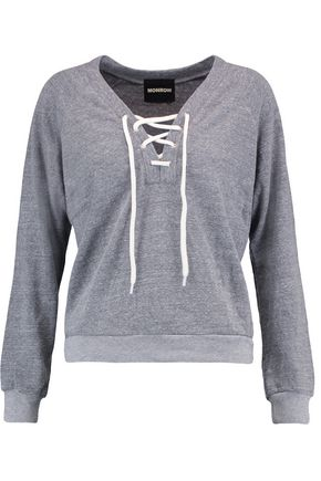 MONROW Lace-up slub jersey sweatshirt