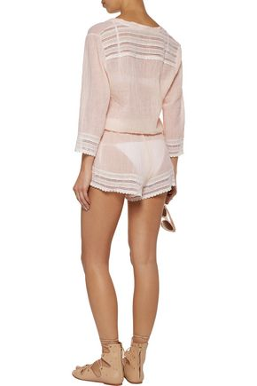 EBERJEY Love Shack Pia crochet-trimmed cotton-gauze playsuit