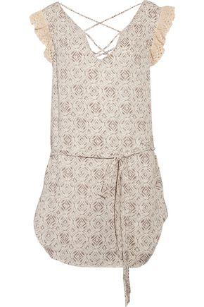 EBERJEY Sandbar Paloma crochet-trimmed lace-up printed satin coverup