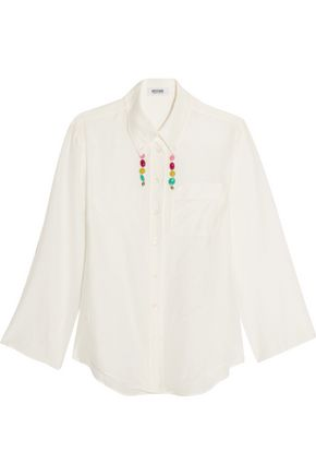 MOSCHINO CHEAP AND CHIC Bead-trimmed cotton and silk-blend shirt