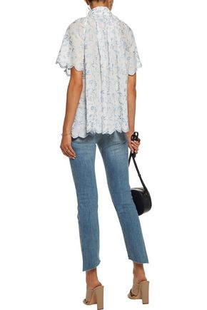 ZIMMERMANN Zephyr gathered embroidered cotton-broadcloth top