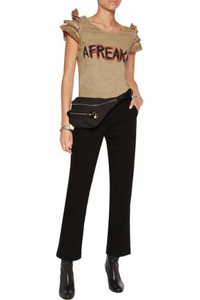 BOUTIQUE MOSCHINO Ruffle-trimmed printed cotton-jersey top