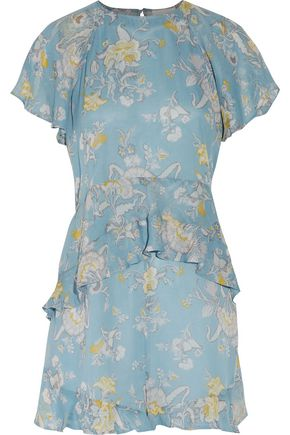 ZIMMERMANN Ruffled printed silk-georgette playsuit