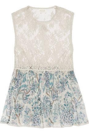 ZIMMERMANN Adorn cotton-blend lace and printed silk-georgette top