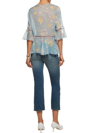 ZIMMERMANN Lace-trimmed printed silk-georgette blouse