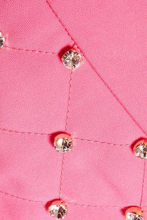 MOSCHINO Crystal-embellished crepe shorts