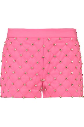 MOSCHINO Crystal-embellished crepe shorts