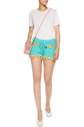 MOSCHINO Embroidered knitted cotton and linen-blend shorts
