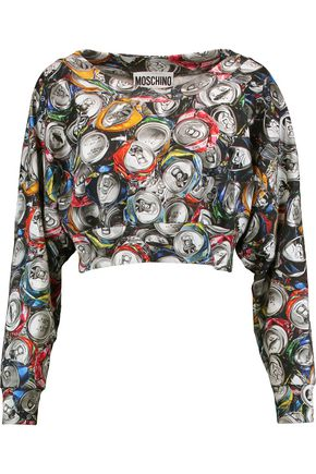 MOSCHINO Cropped printed cotton top