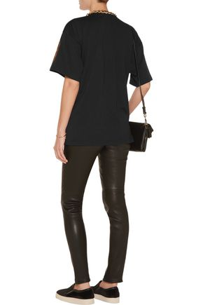 MOSCHINO Embellished stretch-cotton T-shirt