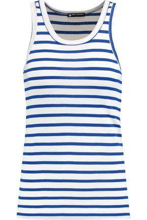 PETIT BATEAU Striped perforated cotton-jersey tank