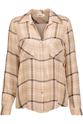 L'AGENCE Denise silk crepe de chine-paneled plaid twill shirt