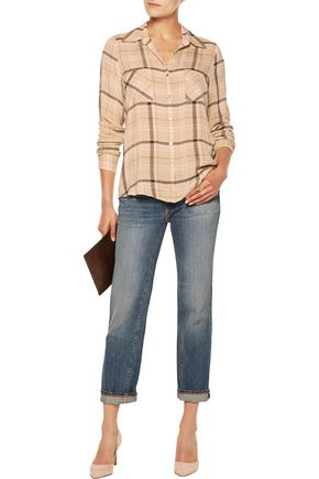 L'AGENCE Denise checked twill  shirt