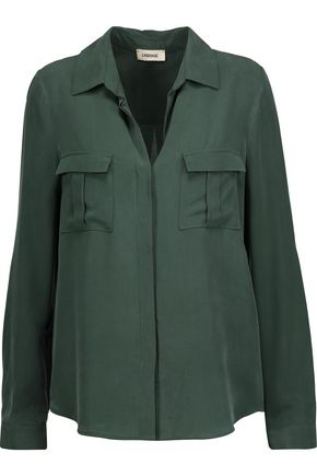 L'AGENCE Valerie Safari washed-silk shirt