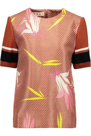 MARNI Metallic cotton-blend jacquard top