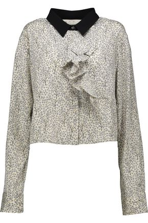 MARNI Cropped printed stretch-silk shirt