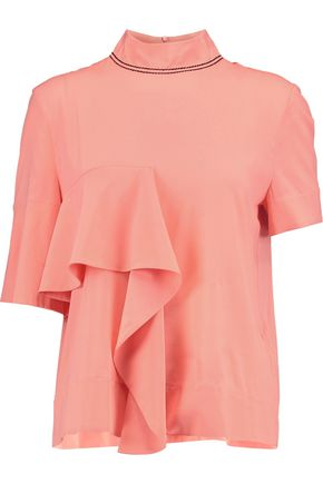MARNI Draped silk-blend top