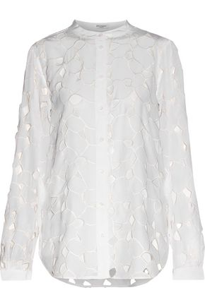 EQUIPMENT Henri laser-cut embroidered washed-silk shirt