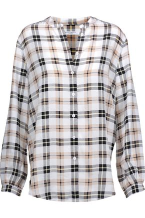 EQUIPMENT Henri plaid washed-silk top