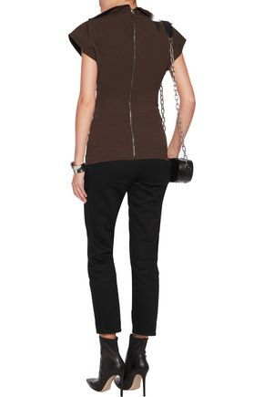 RICK OWENS Draped cotton-blend crepe top