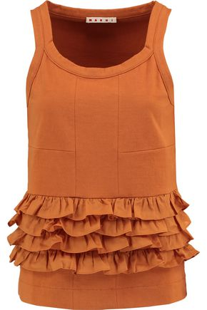 MARNI Ruffled voile-paneled cotton-jersey top