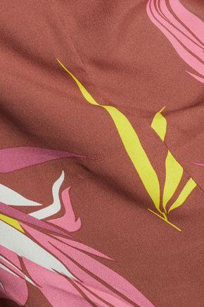 MARNI Fleece-paneled printed crepe top
