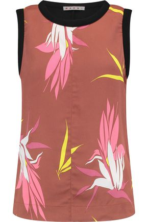 MARNI Fleece-paneled printed crepe top