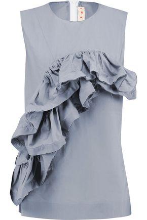 MARNI Ruffled cotton-poplin top