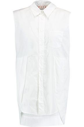 MARNI Layered cotton-poplin shirt