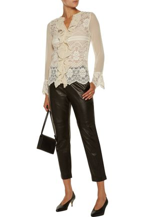W118 by WALTER BAKER Ruby paneled crochet-knit and georgette top