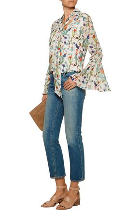 W118 by WALTER BAKER Karla tie-front printed chiffon blouse