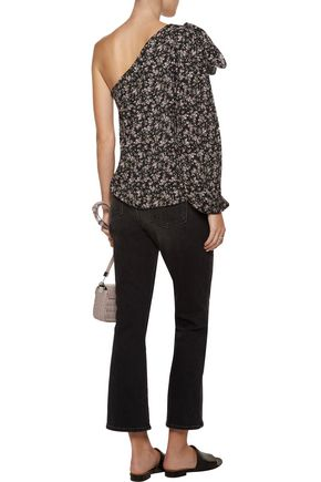 W118 by WALTER BAKER Micah one-shoulder bow-embellished floral-print crepe blouse