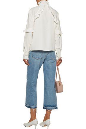 W118 by WALTER BAKER Jessie ruffle-trimmed crepe de chine blouse