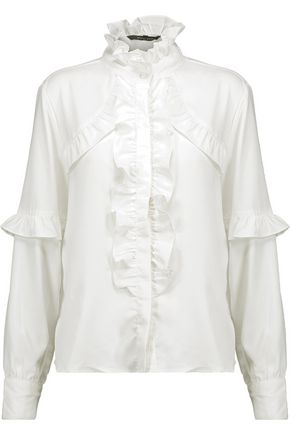 W118 by WALTER BAKER Jessie ruffle-trimmed crepe de chine blouse