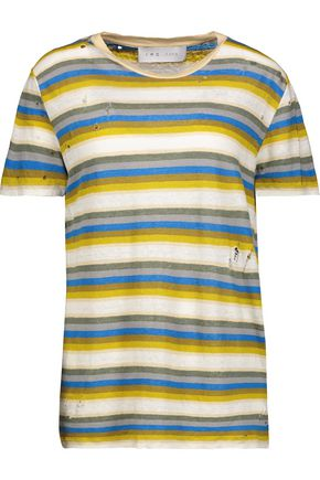 IRO Vania distressed striped linen T-shirt