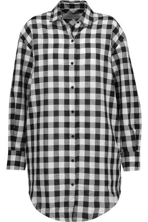 IRO Davy checked cotton and linen-blend shirt