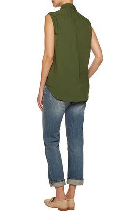 CURRENT/ELLIOTT The Sleeveless Grad Shirt cotton top