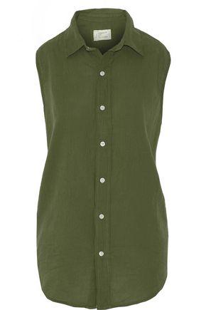 CURRENT/ELLIOTT The Sleeveless Grad Shirt cotton top