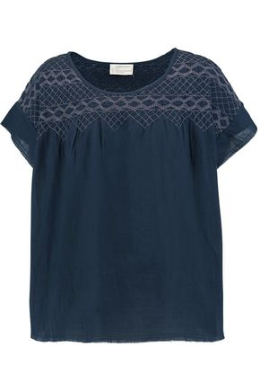 CURRENT/ELLIOTT Smocked cotton-voile T-shirt