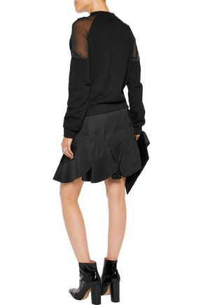 VERSUS Chiffon-paneled embroidered cotton-blend jersey sweatshirt