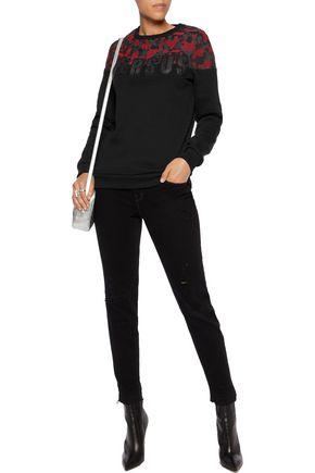 VERSUS Appliquéd jacquard-paneled cotton sweatshirt