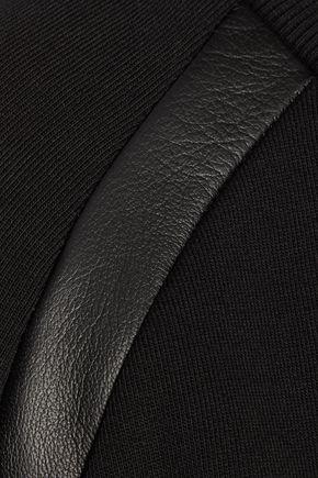 VERSUS Leather-trimmed cotton-jersey sweatshirt