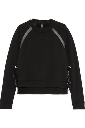 VERSUS Leather-trimmed cotton-jersey sweatshirt