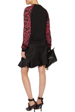 VERSUS Printed georgette-paneled embroidered cotton-jersey sweatshirt