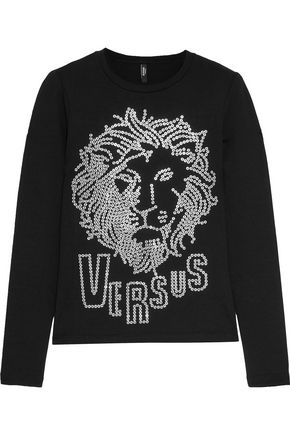 VERSUS VERSACE Studded cotton-blend top