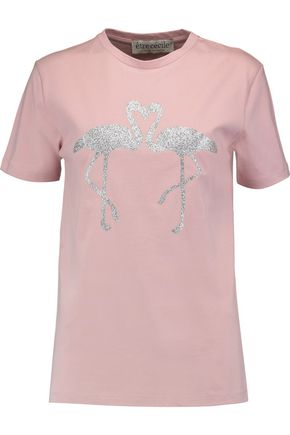 ÊTRE CÉCILE Flamingo glittered cotton-jersey T-shirt