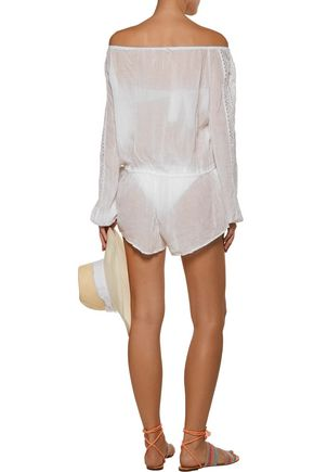 LOVESHACKFANCY Off-the-shoulder tasseled crochet-trimmed crinkled-cotton playsuit