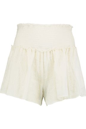 LOVESHACKFANCY Stella embroidered cotton shorts
