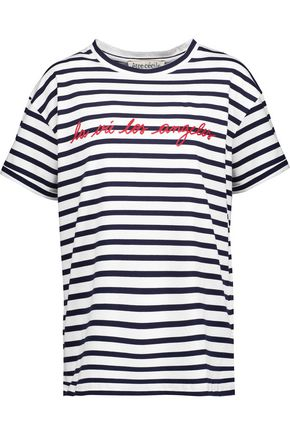 ÊTRE CÉCILE La Vie Los Angeles flocked striped cotton-jersey T-shirt